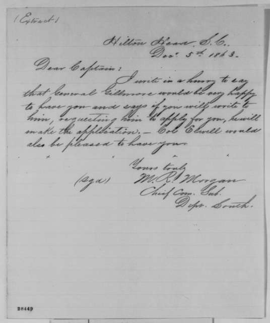 M. R. Morgan to Charles Garretson, Saturday, December 05, 1863  (Military appointment)