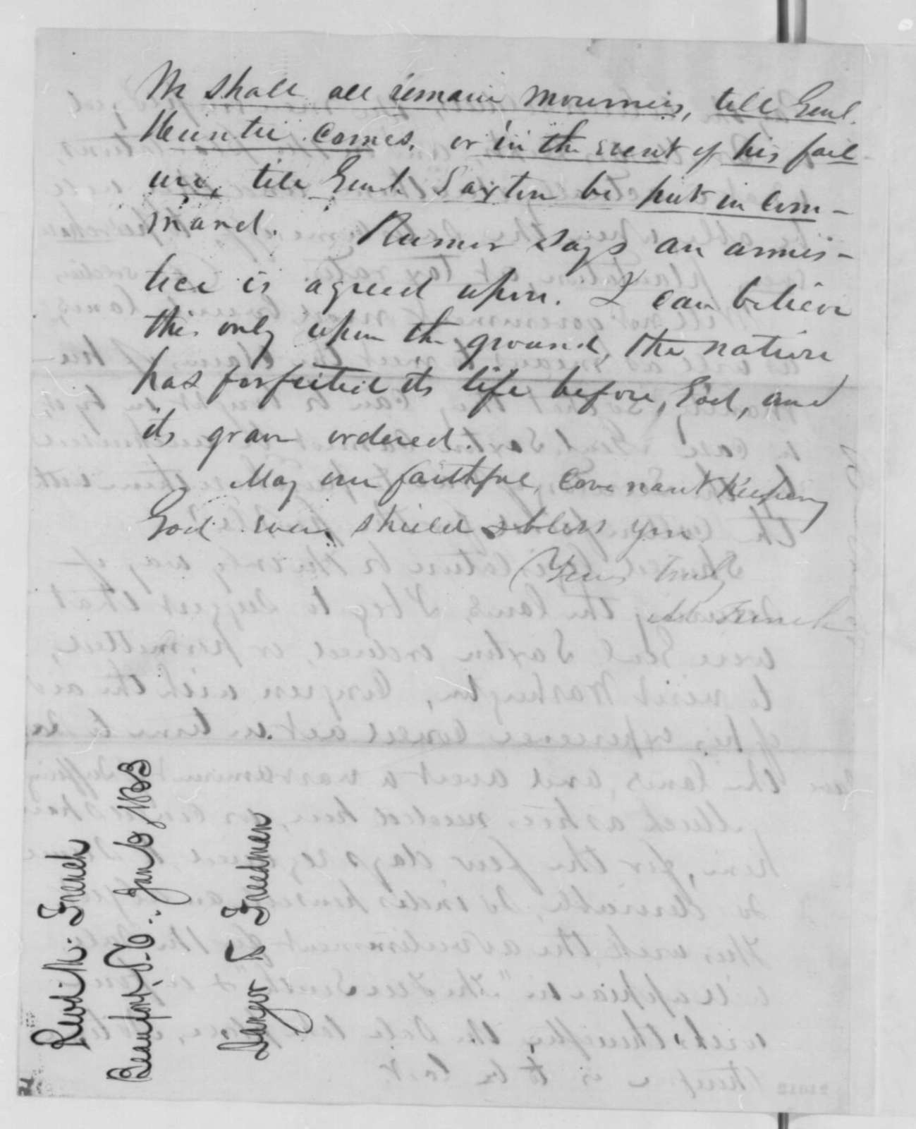 Mansfield French to Salmon P. Chase, Tuesday, January 06, 1863  (Condition of freedmen in South Carolina)
