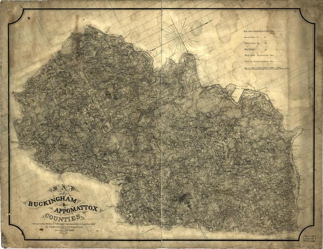 Map of Buckingham & Appomattox counties /