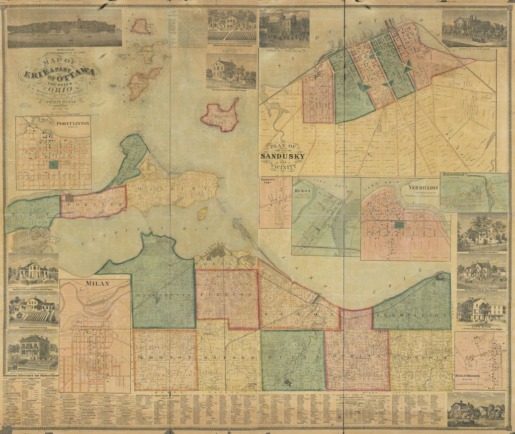 Map of Erie & part of Ottowa Counties, Ohio : showing the sections, farms, lots and villages /