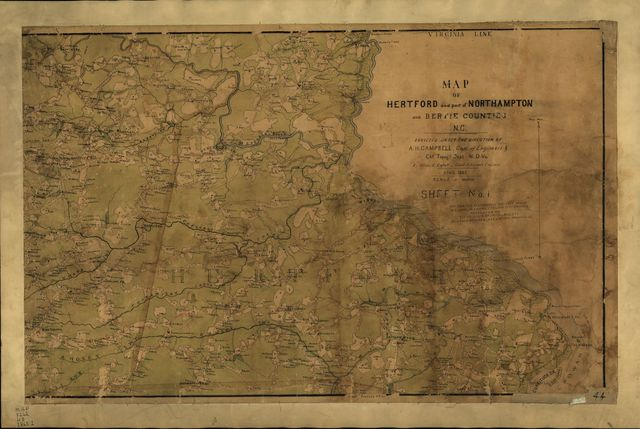 Map of Hertford and part of Northampton and Bertie counties, N.C. : surveyed under the direction of A.H. Campbell, Capt. of Engineers & Ch'f. Topog'l Dep't N.D. Va.