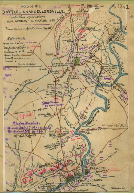 Map of the battle of Chancellorsville, including operations from April 29th to May 5th, 1863.