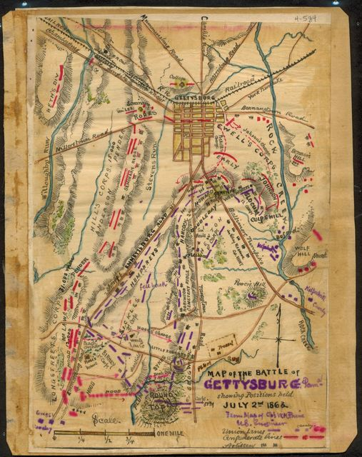 Map of the Battle of Gettysburg, Penna. : showing positions held July 2nd 1863.