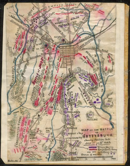 Map of the Battle of Gettysburg showing positions held July 1st & 3rd 1863.