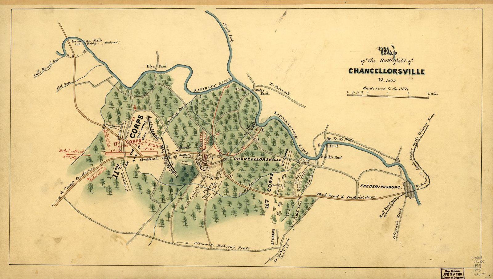 Map of the battlefield of Chancellorsville, Va., 1863. | PICRYL Chancellorsville Battlefield Map on