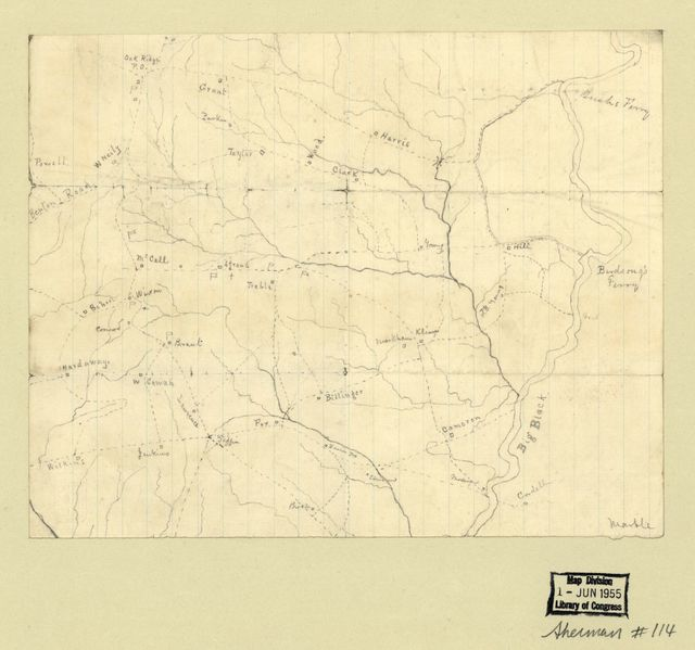 [Map of the Big Black River, Mississippi, in the vicinity of Bush and Birdsong's ferries, 1863]