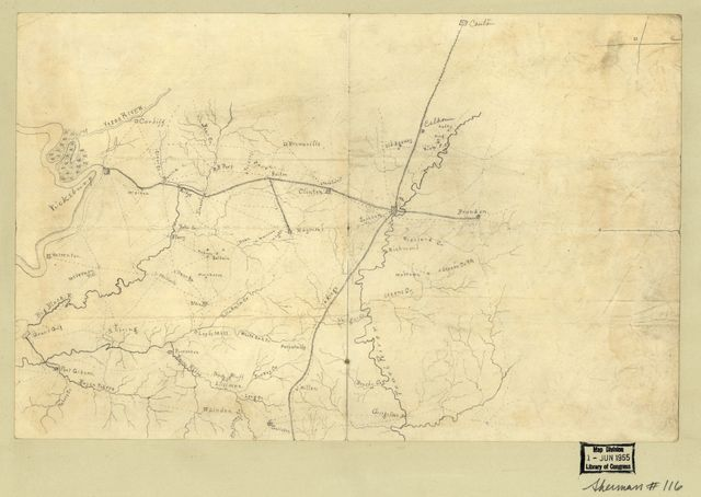 [Map of the environs of Vicksburg and Jackson, Mississippi.].