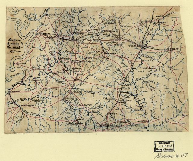 [Map of the environs of Vicksburg and Jackson, Mississippi].