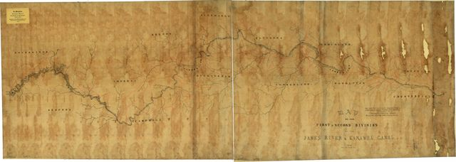 Map of the first & second division of the James River & Kanawha Canal.