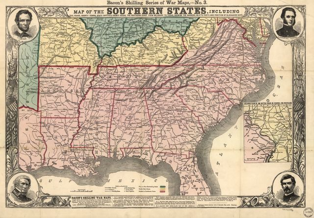 Map of the southern states, including rail roads, county towns, state capitals, count roads, the southern coast from Delaware to Texas, showing the harbors, inlets, forts and position of blockading ships.