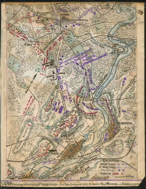 Map shewing [sic] advance of 6th Army Corps (Genl. John Sedgwick U.S.A.) to assist Gen. Hooker at Chancellorsville.