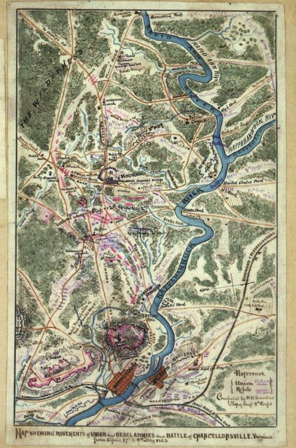Map shewing [sic] movements of Union and Rebel armies and Battle of Chancellorsville, Virginia from April 27th to 4th May 1863.
