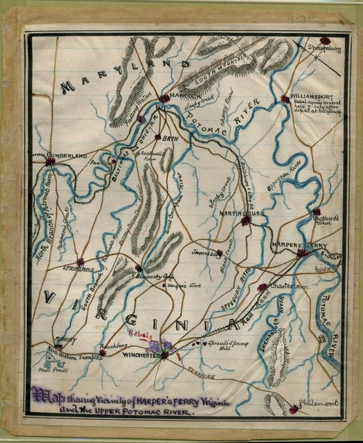 Map shewing [sic] vicinity of Harper's Ferry, Virginia, and the upper Potomac River.