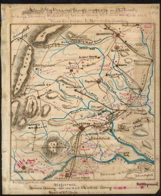 Map showing retreat of Union Army 13th and 14th Oct. 1863 from Culpeper to Warrenton Junction.