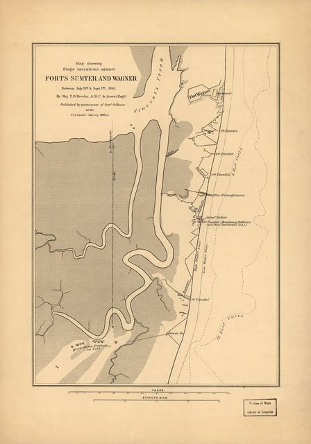 Map showing siege operations against forts Sumter and Wagner, between July 13th & Sept. 7th, 1863, Maj. T. B. Brooks, A.D.C. & Assist. Engrs. Published by permission of Genl. Gillmore at the U.S. Coast Survey Office.