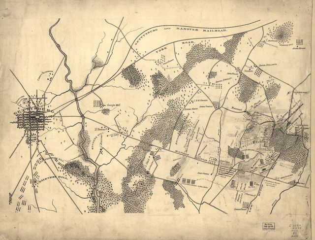 Map showing the positions occupied by the Tenth New York Cavalry in the cavalry engagements on the right flank at Gettysburg, Penn. : on July 2 & 3, 1863, between the Union cavalry under Gen. D. McM. Gregg and the Confederate cavalry under Gen. J.E.B. Stuart.