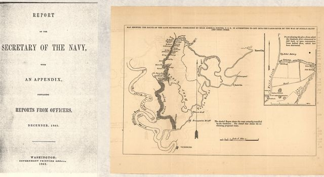 Map showing the route of the late expedition, commanded by Rear Admiral Porter, U.S.N., in attempting to get into the Yazoo River by the way of Steel's Bluff [i.e., Bayou] and Deer Creek.