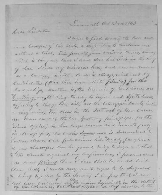 Mark W. Delahay to Abraham Lincoln, Friday, October 23, 1863  (Jealousy caused by his appointment)