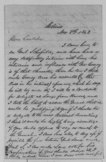 Mark W. Delahay to Abraham Lincoln, Sunday, November 08, 1863  (Military affairs in Missouri)