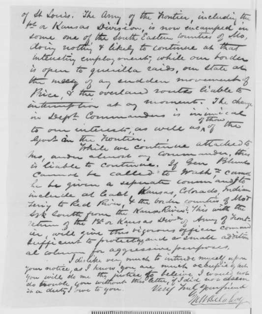 Mark W. Delahay to Abraham Lincoln, Thursday, May 28, 1863  (Dissatisfaction with appointment of General Schofield)