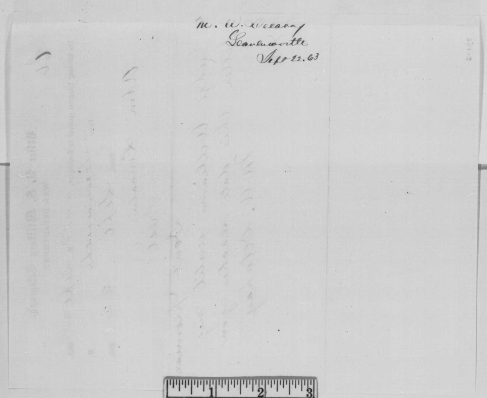 Mark W. Delahay to Abraham Lincoln, Tuesday, September 22, 1863  (Telegram concerning appointment)