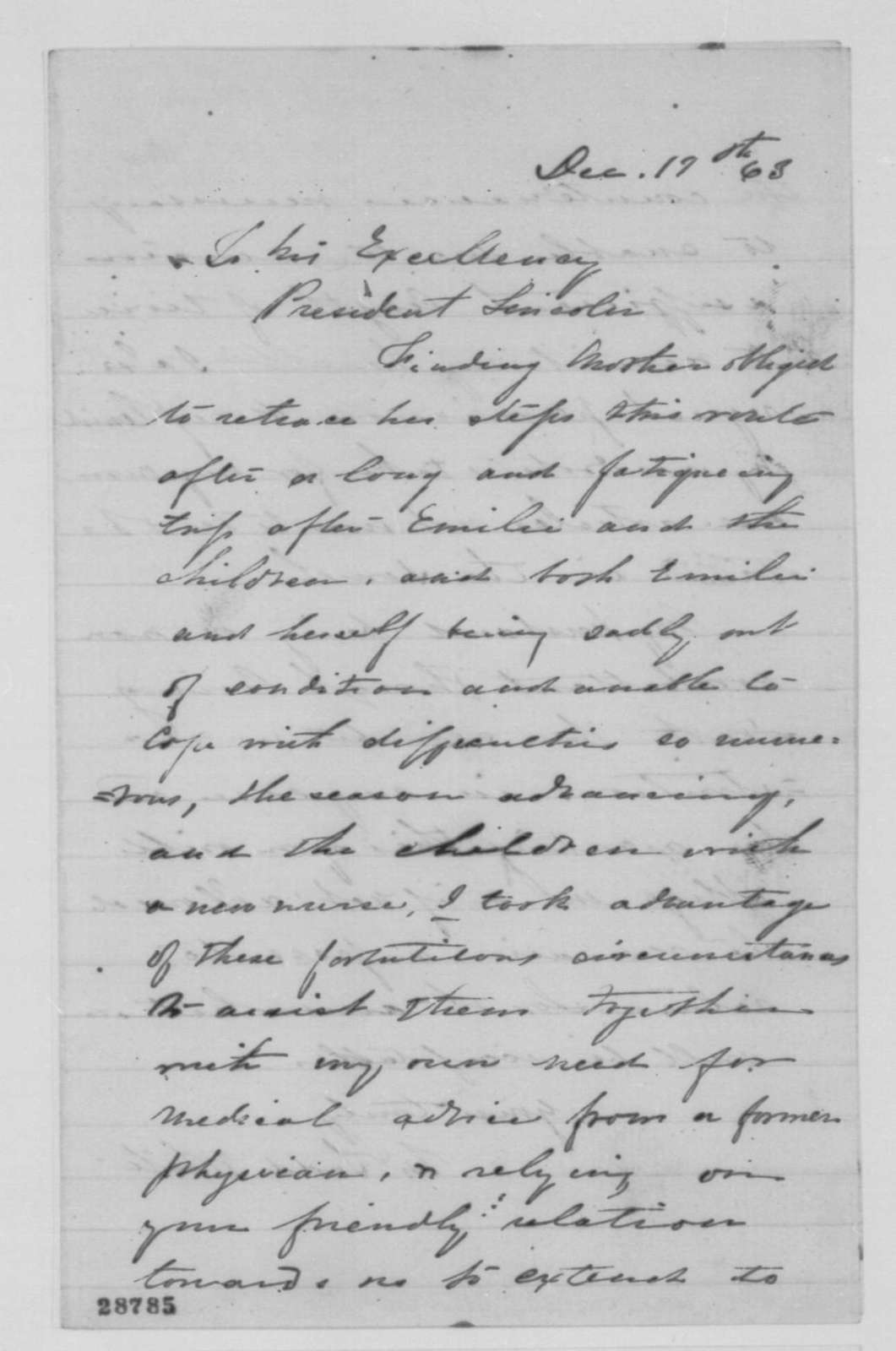 Martha Todd White to Abraham Lincoln, Saturday, December 19, 1863  (Requests permission to remain in the North longer)