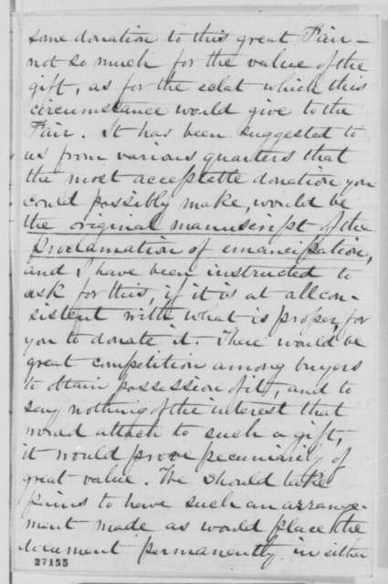Mary A. Livermore to Abraham Lincoln, Sunday, October 11, 1863  (Request for Lincoln to donate original manuscript of the Emancipation Proclamation to the North-Western Sanitary Fair)