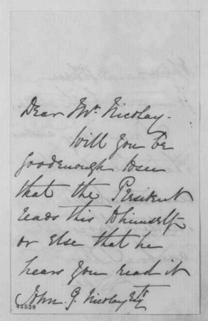 Mary Jay to John G. Nicolay, Thursday, April 23, 1863  (Cover letter)