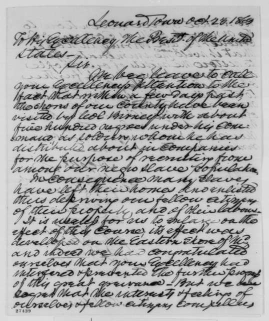 Maryland Citizens to Abraham Lincoln, Friday, October 23, 1863  (Petition protesting enlistment of black soldiers in Maryland)