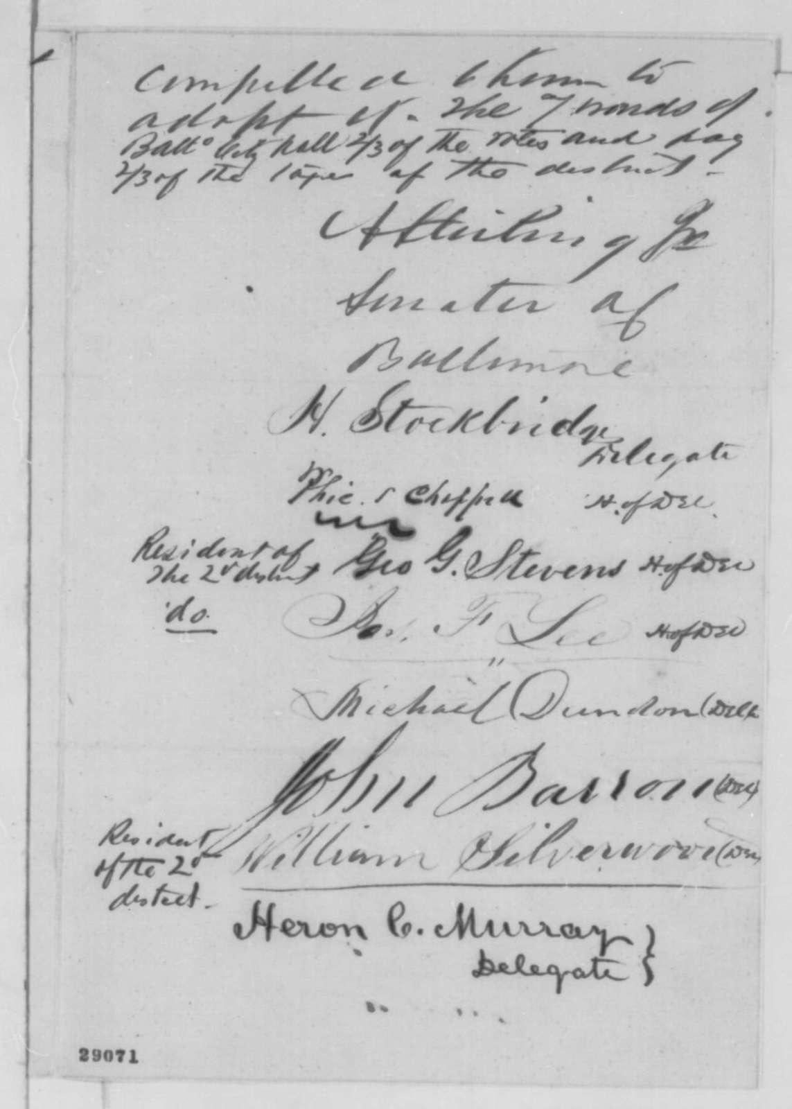 Maryland Legislature to Abraham Lincoln, December 1863  (Petition protesting removal of Joseph J. Stewart)