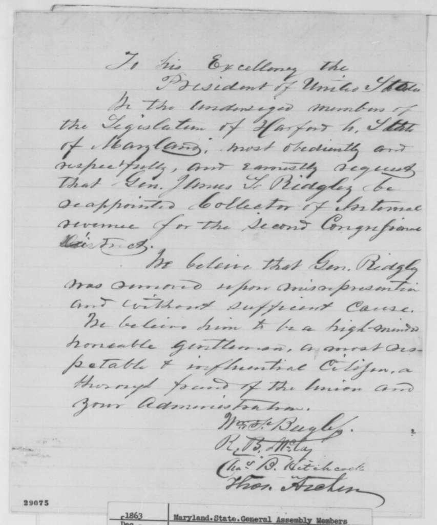 Maryland Legislature to Abraham Lincoln, December 1863  (Petition protesting removal of James L. Ridgely)