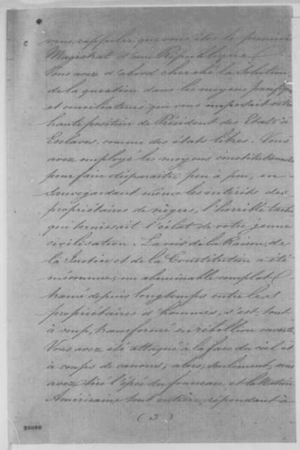 Masonic Order of Reformed Rite of Memphis to Abraham Lincoln, Wednesday, November 18, 1863  (Support; in French with English translation)