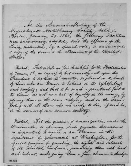 Massachusetts Anti-Slavery Society to Abraham Lincoln, Thursday, January 29, 1863  (Resolutions regarding the Emancipation Proclamation)