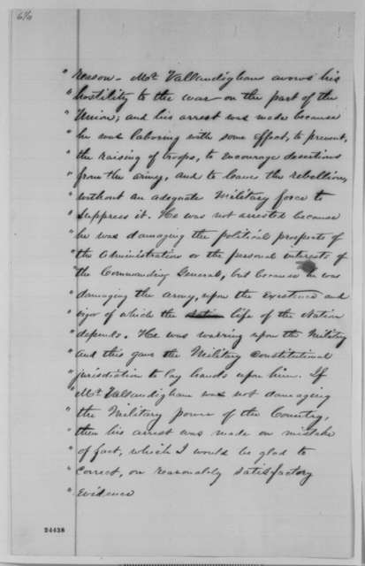 Matthew Birchard, et al. to Abraham Lincoln, Friday, June 26, 1863  (Committee from Ohio Democratic Convention presents resolutions on behalf of Clement Vallandigham)