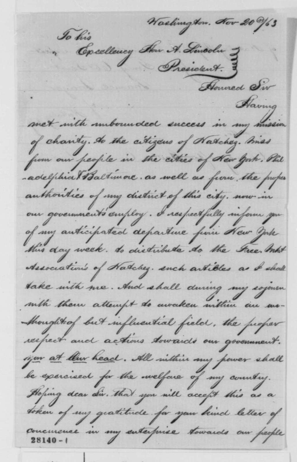 Maurice Mayer to Abraham Lincoln, Friday, November 20, 1863  (Charitable mission to Natchez)