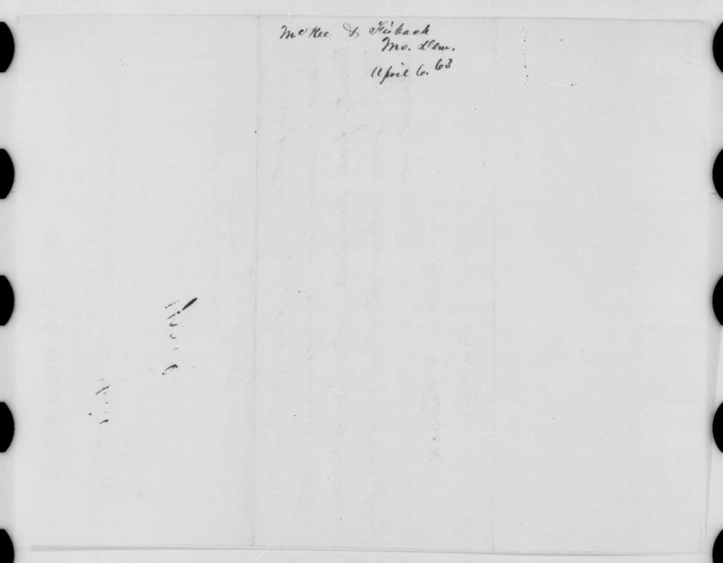 McKee & Fishback to Abraham Lincoln, Monday, April 06, 1863  (Telegram reporting Missouri election results)