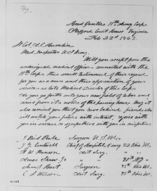 Medical Officers of XI Corps to Augustus C. Hamlin, Sunday, February 22, 1863  (Petition of appreciation)