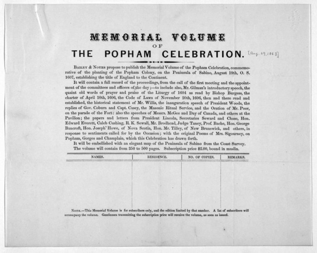 Memorial volume of the Popham celebration [Prospectus] [Aug. 29, 1863].