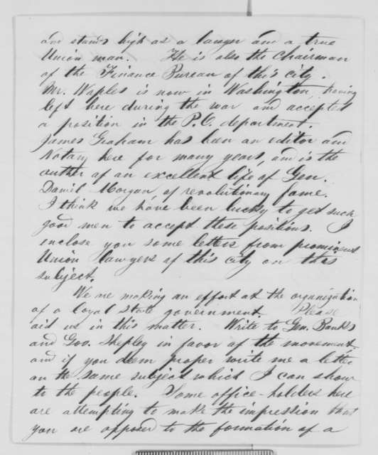 Michael Hahn to Abraham Lincoln, Saturday, May 09, 1863  (Affairs in Louisiana)