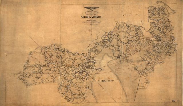 Military map of Suffolk & vicinity for Majr. Genl. J. A. Dix /