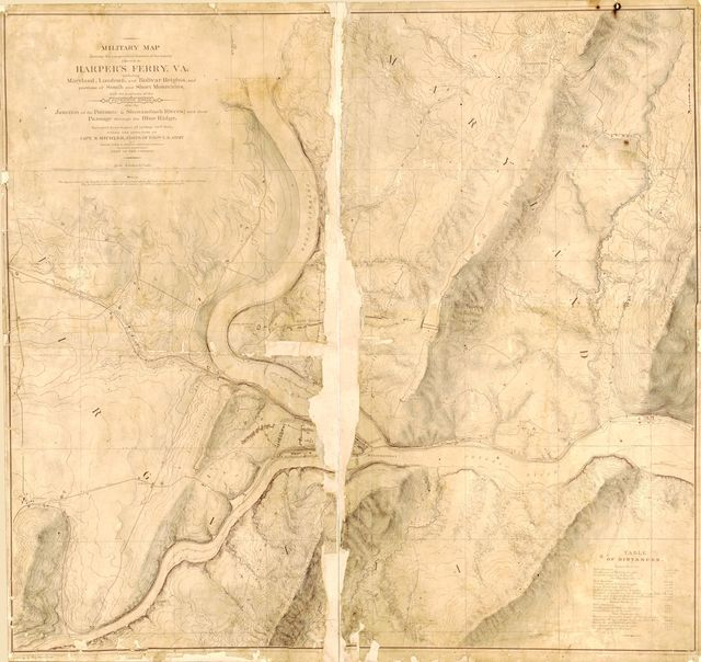 Military map showing the topographical features of the country adjacent to Harper's Ferry, Va.; including Maryland, Loudoun, and Bolivar Heights, and portions of South and Short Mountains, with the positions of the defensive works, also the junction of the Potomac & Shenandoah Rivers, and their passage through the Blue Ridge /
