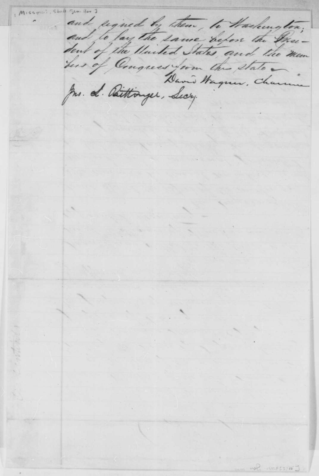 Missouri Legislature, Tuesday, January 20, 1863  (Minutes of a meeting)