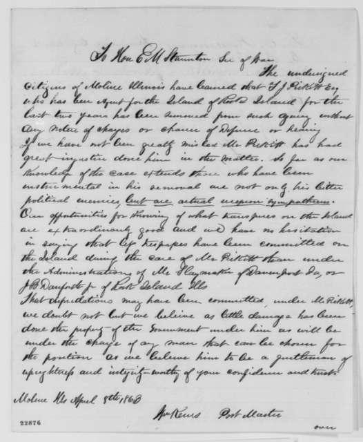 Moline, Illinois Citizens to Edwin Stanton, Wednesday, April 08, 1863  (Petition protesting removal of Thomas J. Pickett)