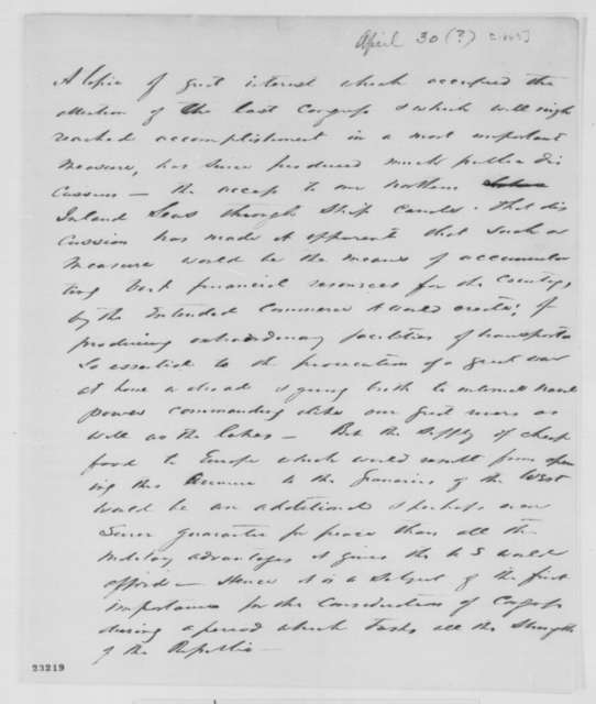 [Montgomery Blair], [1863]  (Memorandum on canals)