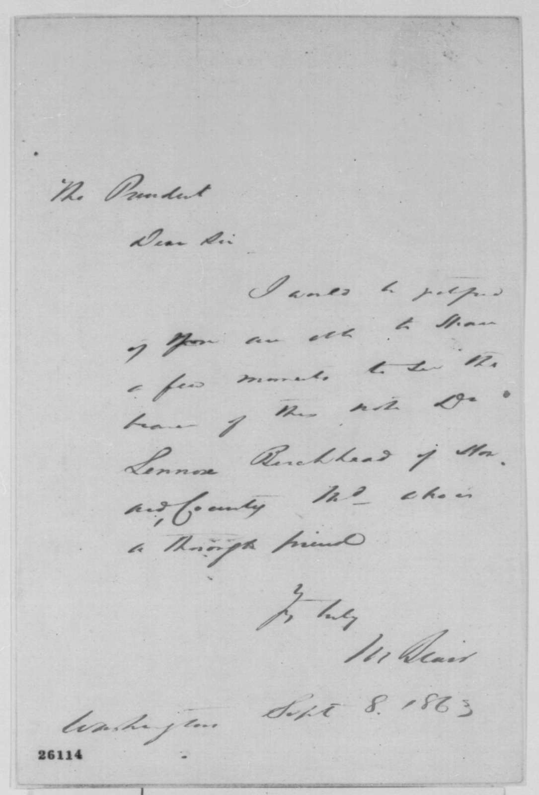 Montgomery Blair and Lennox Birckhead to Abraham Lincoln, Tuesday, September 08, 1863  (Release of prisoner at Fort McHenry)
