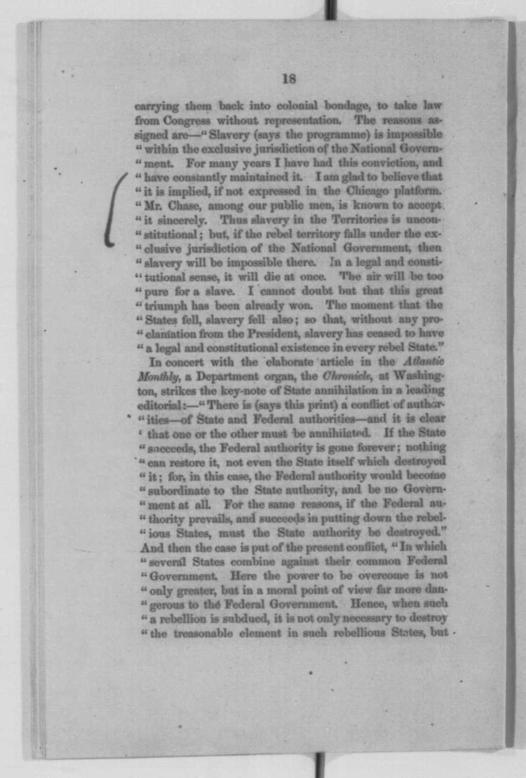 Montgomery Blair, Saturday, October 03, 1863  (Pamphlet)