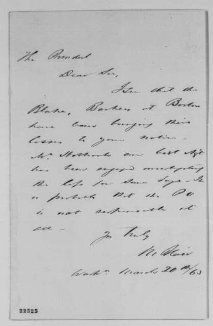 Montgomery Blair to Abraham Lincoln, Friday, March 20, 1863  (Boston post office)