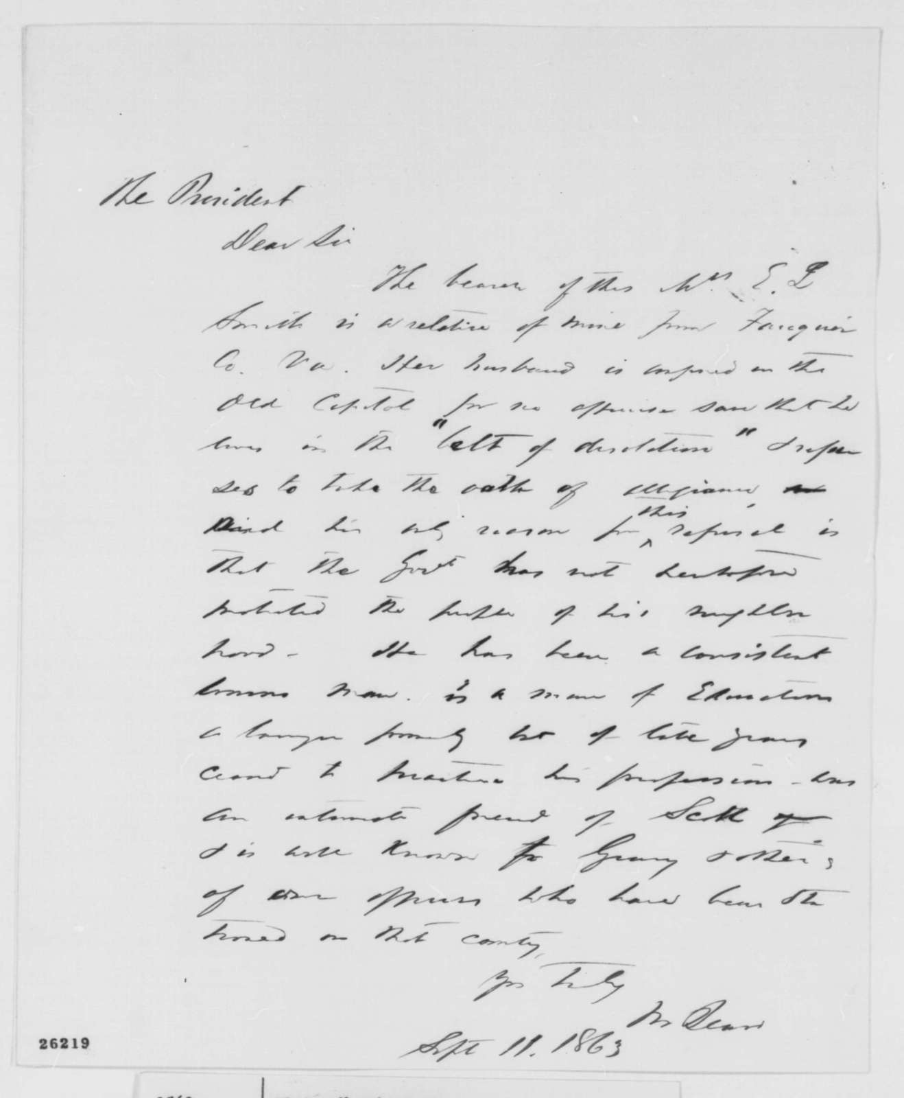 Montgomery Blair to Abraham Lincoln, Friday, September 11, 1863  (Introduces Mrs. E. J. Smith)