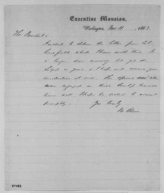 Montgomery Blair to Abraham Lincoln, Wednesday, November 11, 1863  (Sends letter concerning military interference in Maryland elections)