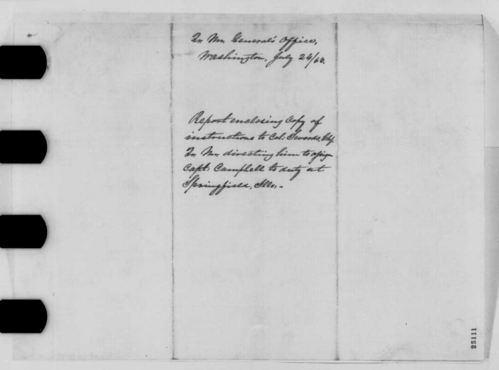 Montgomery C. Meigs to Abraham Lincoln, Friday, July 24, 1863  (Cover letter)